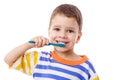 Cute little boy brushing teeth Royalty Free Stock Photo