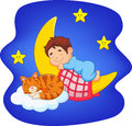 Cute little boy with cat sleeping on the moon Royalty Free Stock Photo