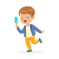 Cute little boy character feeling happy with his ice cream cartoon vector Illustration Royalty Free Stock Photo