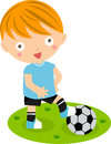 A cute little boy with a football illustration of Royalty Free Stock Photos