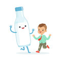 Cute little boy and funny milk bottle with smiling human face playing and having fun, healthy childrens food cartoon Royalty Free Stock Photo