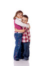 Cute little boy and girl hugging Royalty Free Stock Photography