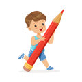 Cute little boy holding giant red pencil cartoon vector Illustration Royalty Free Stock Photo