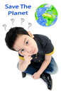 Cute little boy isolate on white background energy concept acting think about Royalty Free Stock Photography