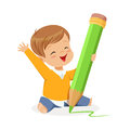 Cute little boy sitting on the floor and writing with a giant green pencil cartoon vector Illustration Royalty Free Stock Photo