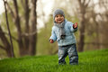Cute little boy in a spring park Royalty Free Stock Images