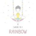 Cute little boy swinging on a rainbow