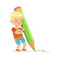 Cute little boy writing with a giant green pencil cartoon vector Illustration Royalty Free Stock Photo