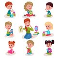 Cute little boys and girls learning letters with speech therapist set, kids learning through fun and play colorful