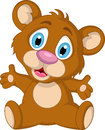 Cute little brown bear cartoon expression Royalty Free Stock Photo