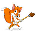 Cute little cartoon fox with paintbrush Royalty Free Stock Photography