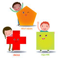 Cute little cartoon kids with basic shapes square cross pentagon