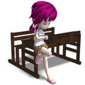 Cute little cartoon school girl leaning on a Stock Images