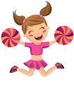 Cute little cheerleader illustration featuring a jumping and screaming holding pompoms isolated on white background eps file is Stock Image