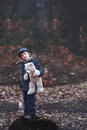 Cute little child holding lantern and teddy bear in forest preschool boy walking a dark Royalty Free Stock Image