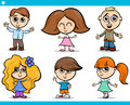 Cute little children cartoon set illustration of boys and girls characters Stock Photos