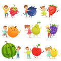 Cute little children having fun and playing with big fruits, set for label design. Colorful cartoon characters detailed