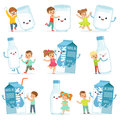 Cute little children having fun and playing with large boxes, mugs and bottles of milk, set for label design. Colorful