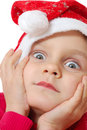 Cute little Christmas hat child Royalty Free Stock Images