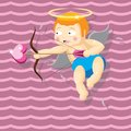 Cute little cupid shoots a bow