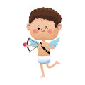 Cute little cupid valentine day shooting bow arrow Royalty Free Stock Photo