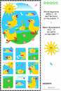 Cute little ducklings visual logic puzzle what of the are not the fragments of the picture plus same task text in russian answer Stock Images