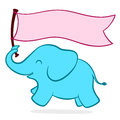 Cute little elephant with a banner turquoise blue baby running blank pink copyspace held in its trunk flying out behind it Stock Image