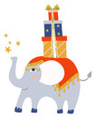 Cute little elephant blue and gold flat style hand drawn graphic artwork baby circus balance with gift sketch ready for Stock Photography