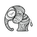 Cute little elephant. Hand-drawn illustration. Indian theme with ornaments.