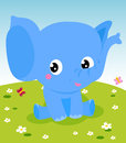 Cute little elephant a illustration Royalty Free Stock Image