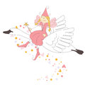 Cute little fairy flying on a swan Stock Image