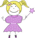 Cute little fairy girl colorful doodle illustration of smiling with magic wand Stock Photography