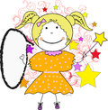Cute little fairy girl with speech bubble colorful doodle illustration of smiling magic wand Royalty Free Stock Photo