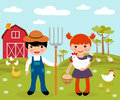 Cute little farmers at farm Royalty Free Stock Image