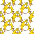 Cute little fat yellow easter chicken with a white tummy in a seamless background pattern in square format cartoon illustration Stock Images