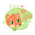 Cute Little Fox In Green Background Vector Illustration. Royalty Free Stock Photo