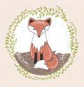 Cute little fox illustration for children Royalty Free Stock Photo