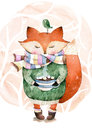 Cute little fox just like to drink hot coffee watercolor illustration and bird in watercolor Stock Image