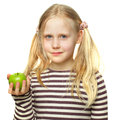 Cute little girl with apple isolated on white background Stock Image