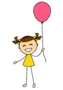 Cute little girl with balloon isolated on white background Stock Image