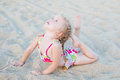Cute little girl on the beach Royalty Free Stock Photo