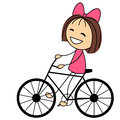Cute little girl on bicycle white background Royalty Free Stock Images