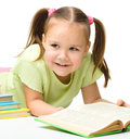 Cute little girl with books Royalty Free Stock Photography