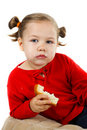Cute little girl with bread and butter Stock Photography