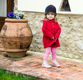 Cute little girl in a country near the house spring Royalty Free Stock Photos