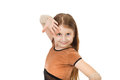 Cute little girl dancing isolated on white background Stock Photo