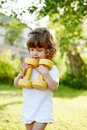 Cute little girl with dumbbells Royalty Free Stock Photo