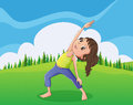 A cute little girl exercising at the hilltop illustration of Stock Photos