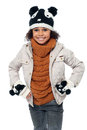 Cute little girl in fashionable  clothes Royalty Free Stock Photos