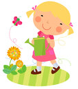 A cute little girl and flower illustration Stock Photography